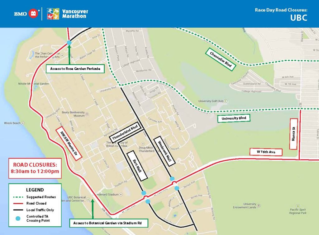 BMO Marathon – Upcoming Road Closures – May 5 Banner Image